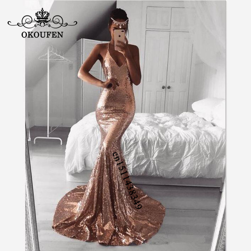 Rose Gold Sequined Mermaid Prom Dresses 2019 Sexy Halter Backless Long Court Train Evening Dress Party For Women Customize