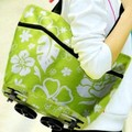 Trolley Portable Pulley Case Cart Bags Flowers in Oxford cloth folding dual-purpose tug bag with wheel rolling shopping bag