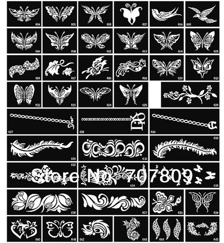 100 pcs mista stencils para pintura corporal