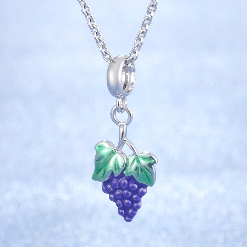 New Arrival Attractive Enamel Green And Purple Color Grape Design 925 Sterling Silver Grape Hanging Charm Women Pendants in Charms from Jewelry Accessories