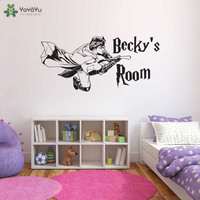 Personalized Name Wall Stickers For Kids Rooms Harry Potter Vinyl Wall Decal Art Mural Boys Room