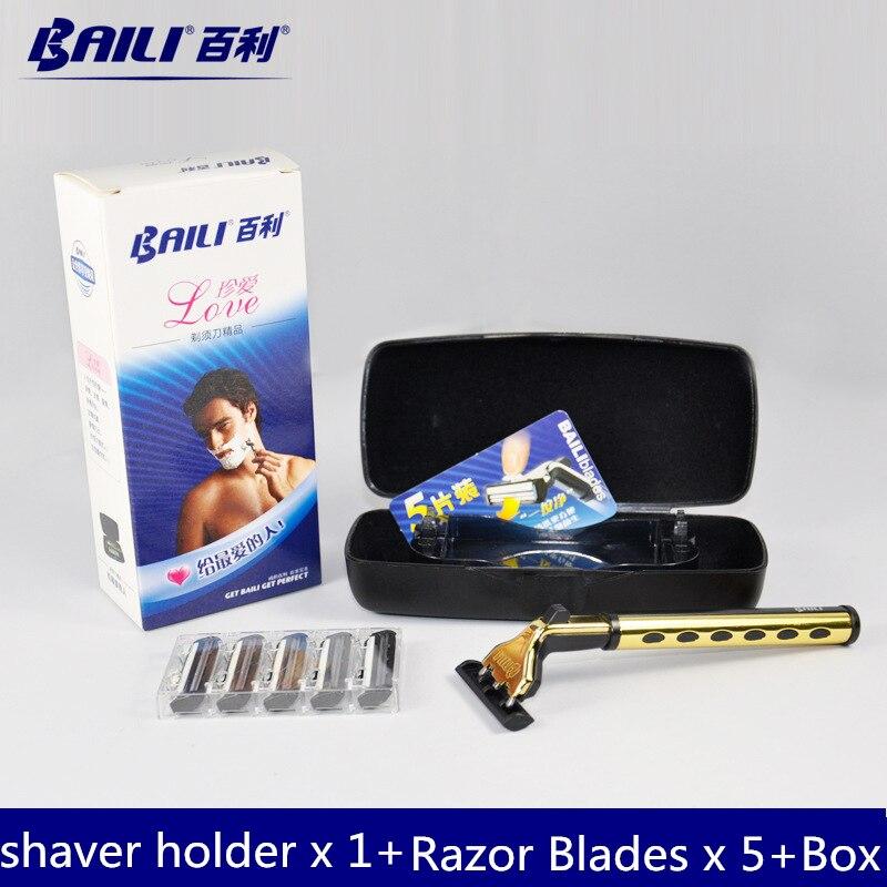 Men Shaver Set 1 Shaver <font><b>Holder</b></font> + 5 <font><b>Razor</b></font> Blades + <font><b>Storage</b></font> Box Men's <font><b>Manual</b></font> <font><b>Razor</b></font> Plated Metal Shavers For Men Care Travel Kit