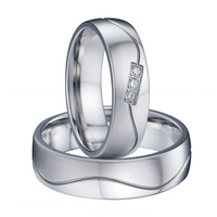 Unique White Gold Color Titanium Love Wedding Band Couple Rings Pair Handmade Men And Women Jewelry