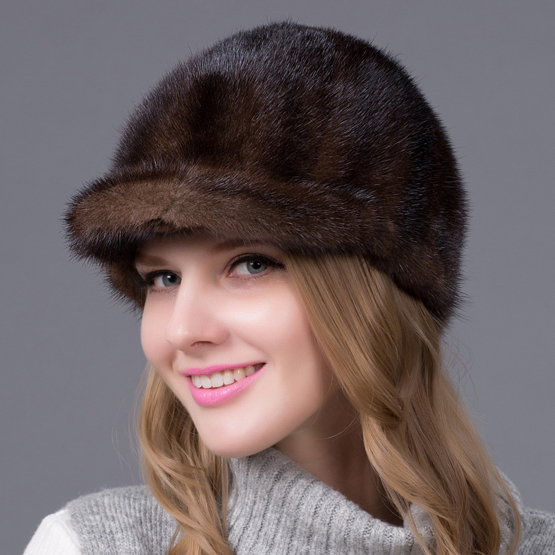 womens winter warm leather mink fur hat fashion all-match knitted beanies caps for women women s cap knitted mink fur hat for women winter warm fashion leather fur headdress beanies russian mom ladies caps