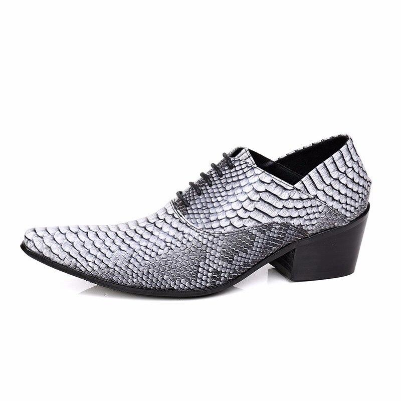 Lace Echtes Business rot Druck Brogue Bella Leder Männlichen Schlange Schuhe Neue Höhe Grau Oxford Christia Haut Männer Zunehmende Up ORACxqv