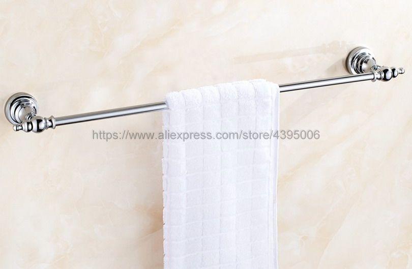 Polished Chrome Wall-Mounted Bathroom Towel Holders Single Towel Bars Towel Racks Bathroom Accessories Bba903 ulgksd wall mounted black brass glass bath towel holders towel shelf towel racks bathroom hardware bathroom accessories page 1