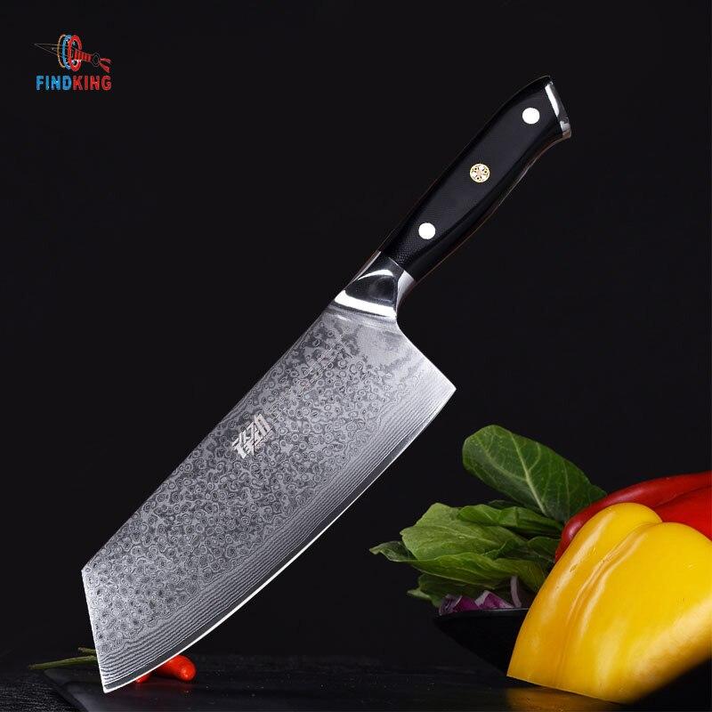 FINDKING G10 poignée damas couteau 7 pouce Professionnel couteau de boucher 67 couches damas cuisine en acier couteau Couperet