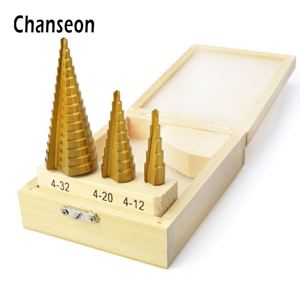 3pcs/Set Large Step Cone HSS Steel Spiral Grooved Step Drill Bit Hole Cutter Cut Metal Drilling Tool 4-12/20/32mm With A Box newacalox large step cone hss steel spiral grooved step drill bit hole cutter cut tool 4 12 20 32mm with wood box 3pcs set