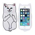 Мягкий Силиконовый Чехол Cat Для iPhone 7 6 6 s Плюс 5 5S Случаях 3D Мультфильм Животных Резиновые Средний Палец Крышка Для iPhone 6 6 s Коке Капа