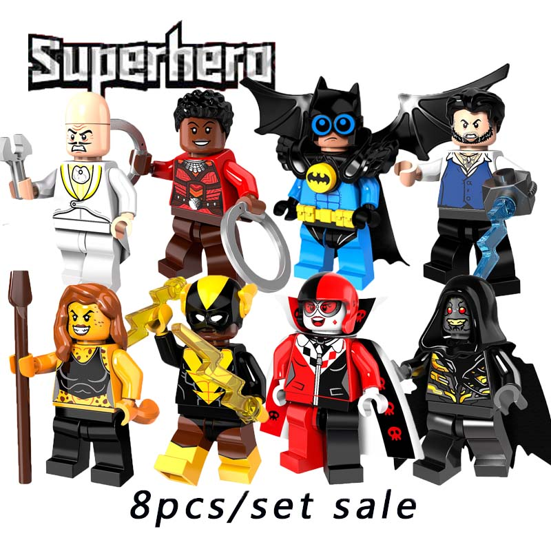 2018 Batman Movie Super Heroes Mini Doll Ulysses Klaw Corvues Glaive Black Vulcan Bat Robin Cheetah Building Block Pg8111