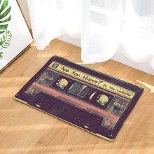 Cinta de Cassette Vintage Felpudo de puerta antideslizante alfombras de hogar, suave y cómodo, antideslizante, no se desvanecen