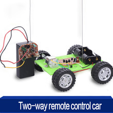1 Pcs DIY Two-way Remote Control Car Kit Educational Toys for Children Puzzle Gadget Hobby Robot Cars Funny Assembly Toy 2018(China)