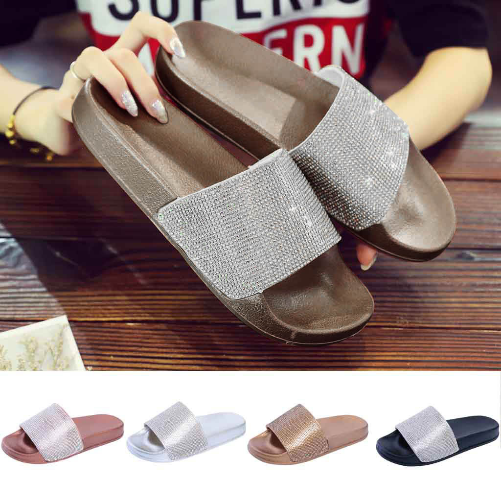 2019 New Womens Shoes Flat Slides Sandals Diamante Sparkly Sliders Colorful Diamond Slippers Casual Summer Shoes