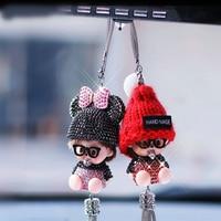 QINFAN Boutique Murchqi Fashion Crystal Car Pendant Rearview Mirror Car Decoration Gift Car Ornaments Tassel