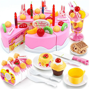 75Pcs Birthday Cake Toy DIY Fruit Cream Christmas Gift Set Children Kids Pretend Play Toys Set Birthday Present For Girl