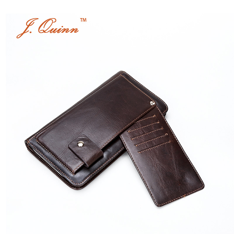 J.Quinn Men's Clutch Wallets Handy Bags Genuine Cow Leather Business Long Wallet for Mens Zipper Cards Phone Holder Purse New 2016 famous brand new men business brown black clutch wallets bags male real leather high capacity long wallet purses handy bags