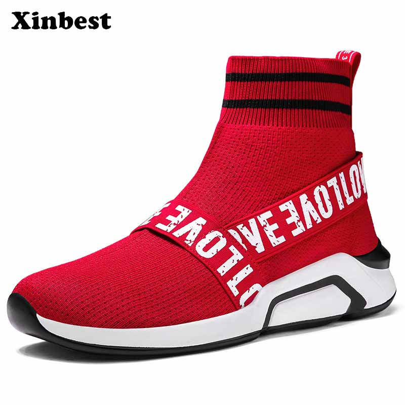 Xinbest Man Woman Brand Outdoor Athletic Comfortably Running Shoes Breathable Antiskid Outdoor Jogging Fly line Fabric Sneakers
