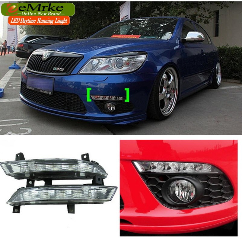 eeMrke Car LED DRL For Skoda Octavia RS A5 2009 2010 2011 2012 2013 High Power Xenon White Fog Cover Daytime Running Lights Kits eemrke for toyota voxy 2007 2008 2009 2010 2011 2012 2013 side rear view mirror lights led drl turn signals