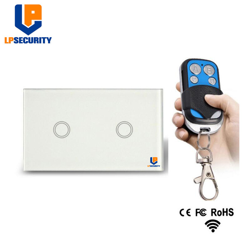 LPSECURITY US Standard Remote Control Switch 2 Gang 1 Way ,<font><b>RF433</b></font> Smart <font><b>Wall</b></font> Switch, Wireless touch light switch black/white image