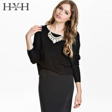 цена на HYH Autumn&Winter Women Sweater Back Hollow Out Zipper Long Sleeve Crew Neck Straight Sweater Fashion Sexy Casual Sweater