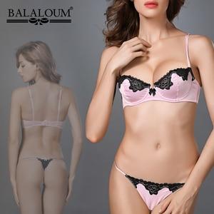 Image 4 - BALALOUM, sujetador Sexy para mujer, encaje Floral transparente, Ultra delgado, Bowknot, sujetador, Push Up, Demi Cup, lencería, ropa interior negra, roja, Rosa