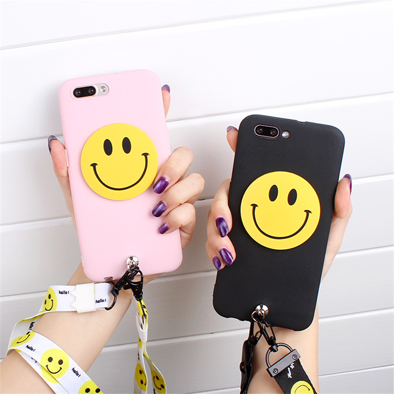 XINGYUANKE Luxury Phone Case For OPPO A79 Case Soft Silicone Cute Cartoon Smile Face Tassels Back Cover For OPPO A83 Coque Capa