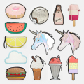 Cute Cartoon Women Unicorn Ice cream Cupcake Mini Bags New Look Fruit Funny Clutch Shape Laser Diamond Shiny Purse New Year Gift