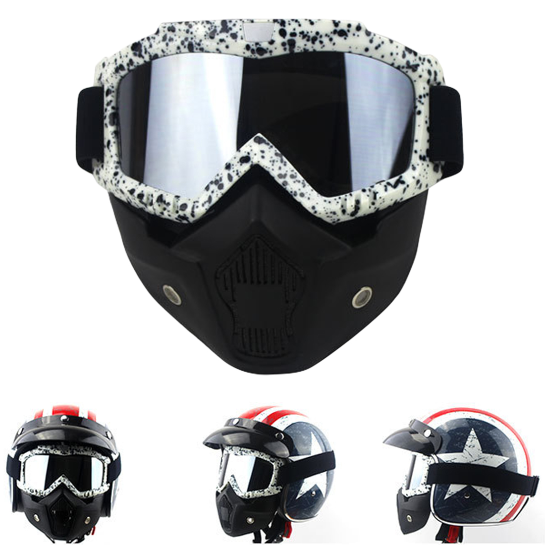 2018 Hot Fashion Double Anti-fog Goggles Hot Motorcycle Retro Halter Mask Cross Country Goggles Detachable Mask Breathable New