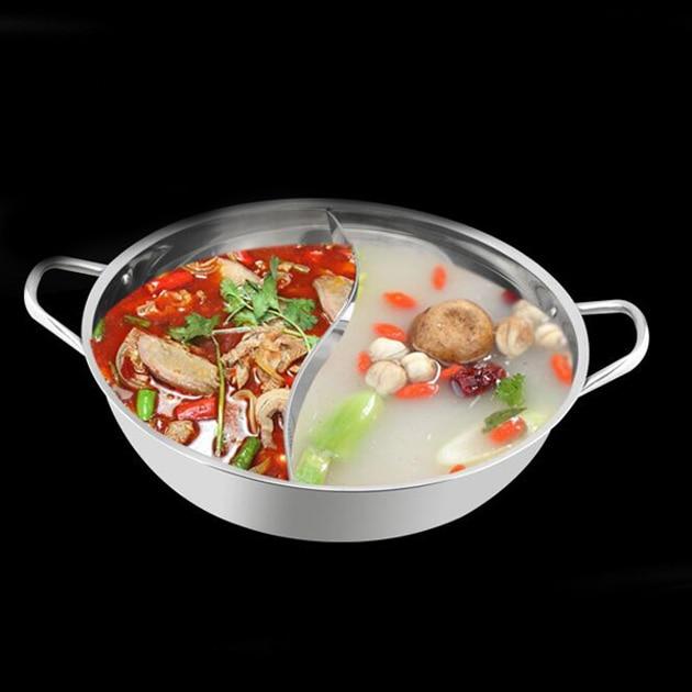 30 cm in acciaio inox piatto caldo shabu shabu dual sito induzione stufa a gas compatibile