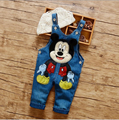 Wholesale Children Clothing Summer Fashion Denim Bib Pants Boy's Lovely Micky Character Cotton Rompers Small Boys Jumpsuits 1-2T