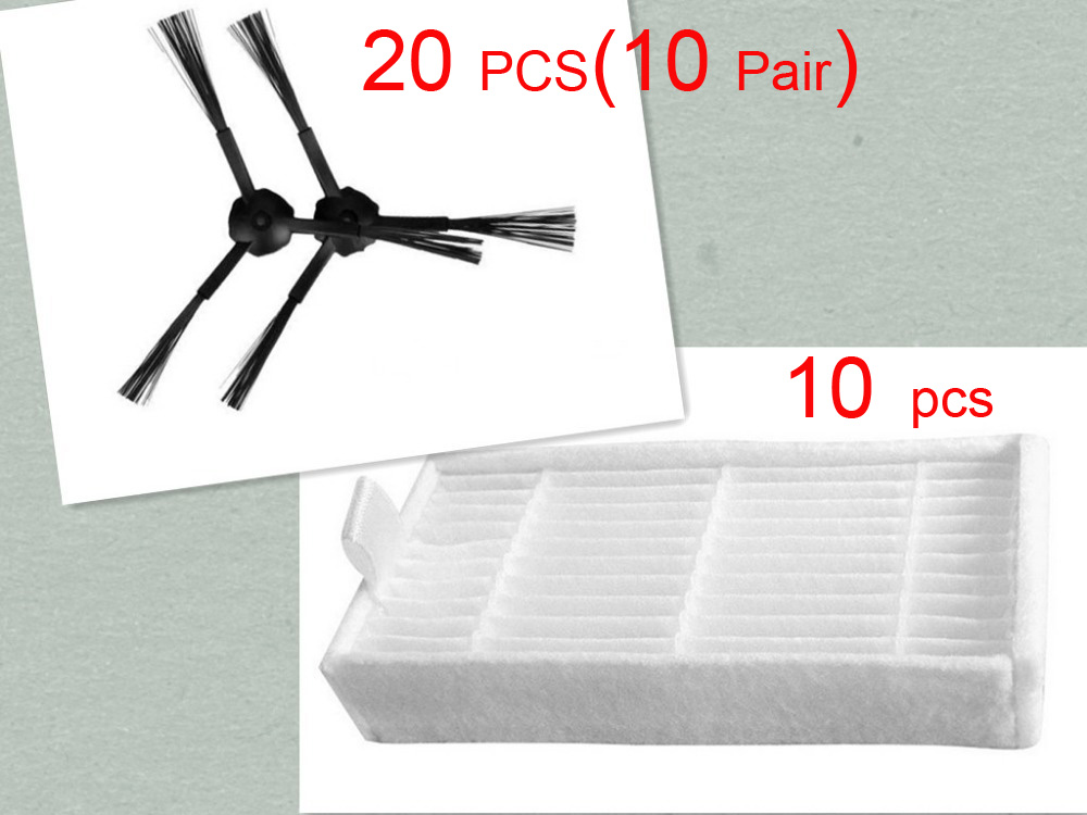 30 pcs/lot 20 side brush(10 pair) &10 HEPA filters for ecovacs CR120 X500 X600 panda X500 filter Promaster Robot 2712 4 hepa filter 6 side brush 3l 3r kit for ecovacs dibea x500 x580