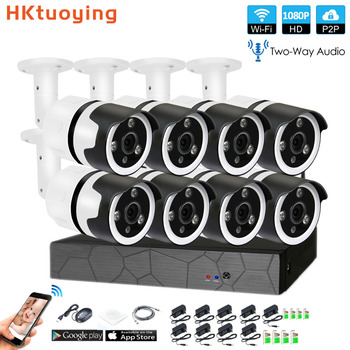 8CH em dois sentidos conversa áudio HD NVR Sem Fio Kit 2.0MP P2P 1080 P Indoor Outdoor IR Night Vision Security IP WI-FI câmera de CCTV Sistema