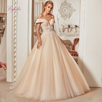 Liyuke 2019 Married Ball Gown Wedding Dress Champagne Lace Appliques Off the shoulder Beading Tulle Customized