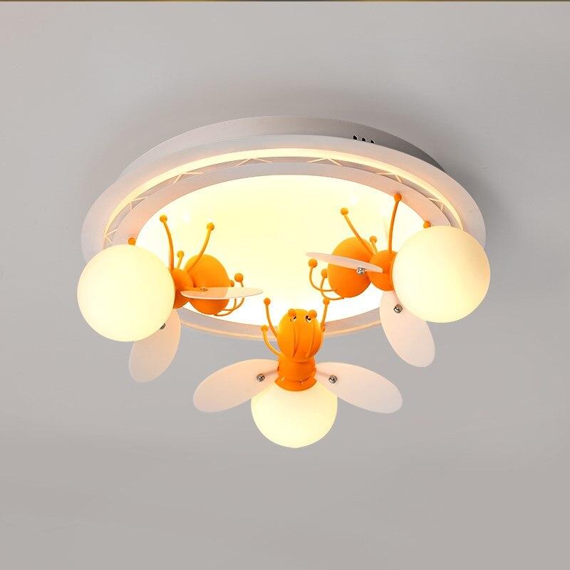 Детская комната горит маленькие пчелы светлячки Креативный светодиодный Мультфильм Потолочный светильник теплая спальня исследование пл