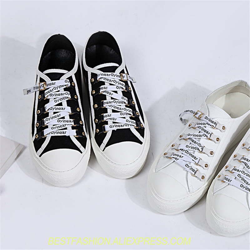 Fashion Women Shoes Canvas Female Shoes All White and Black Casual Sneakers Lace Up Fresh Style Flats Designer Lace Flat Women casual style print and canvas design satchel for women