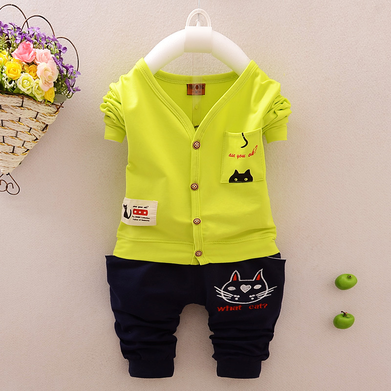 Cotton Baby Boy Clothing Set Long sleeve clothes + Pants Kid Clothing Set Cat Pattern Children Clothing Set Spring Syle 2pcs set baby clothes set boy