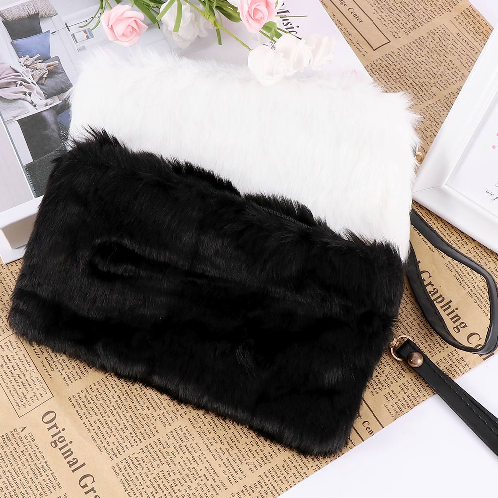 Fashion Women's Elegant Clutch Bag Faux Fur Handbag  Cute Children Princess Party Small Girls Tote Wallet Candy Color Clutch