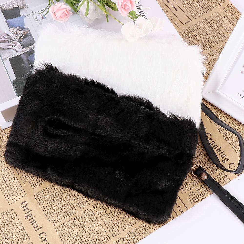 Fashion Women's Elegant Clutch Bag Faux Fur Handbag  Cute Children Princess Party Small Girls Tote Wallet Candy Color Clutch