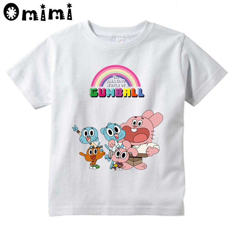 Boys and Girls The Amazing World Of Gumball Cartoon Printed T Shirt Kids Great Casual Short Sleeve Tops Children's Funny T-Shirt generic little boys 2 piece set of short sleeve t shirt and plaid shorts gray red