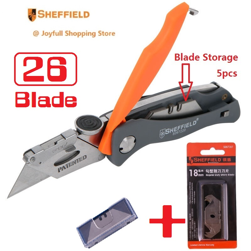 Great Deal Sheffield Utility Folding Knife with Free Gift Original Hook Knife Blades Steel Heavy Blade Knife Paper Cutter Tool in Knives from Tools