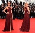 67o Festival de Cine de Cannes Vestidos de La Celebridad Blake Lively de Split Side Scoop Plisados Gasa Vestidos de Rojo Oscuro Borgoña 2015 BG50544