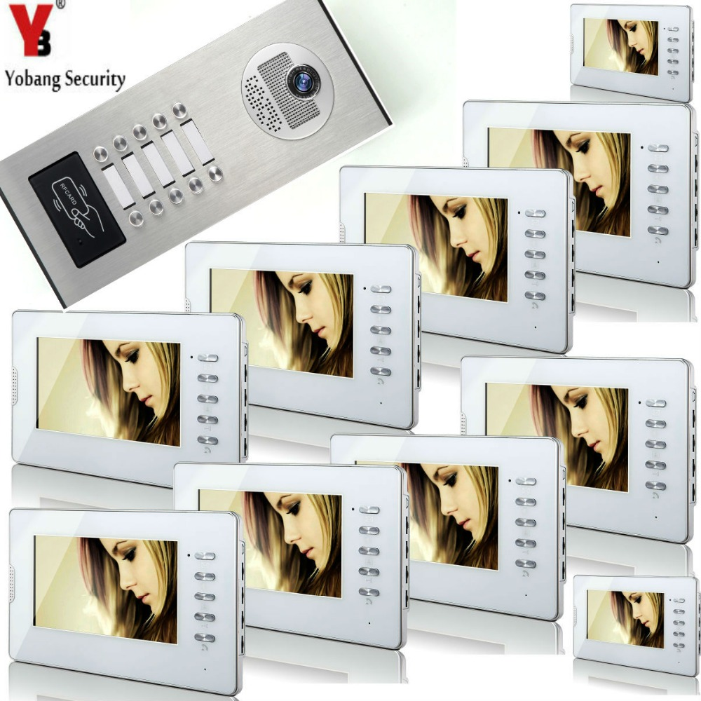 Yobang Security 10 Units Apartment RFID IR Camera Intercom 7'Inch Monitor Wired Video Door Phone Doorbell Intercom System yobang security freeship 7inch monitor doorbell rfid camera handfree video door phone door video intercom for apartment security