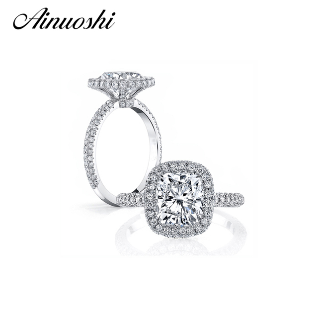 ainoushi luxury 3 carat cushion cut halo ring finger sona 925 sterling silver engagement wedding band - Wedding Band For Halo Ring