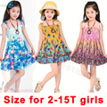 2016 New 2-15T summer girls dresses Fashion Knee-length beach dresses for girls sleeveless bohemian children dresses for girls