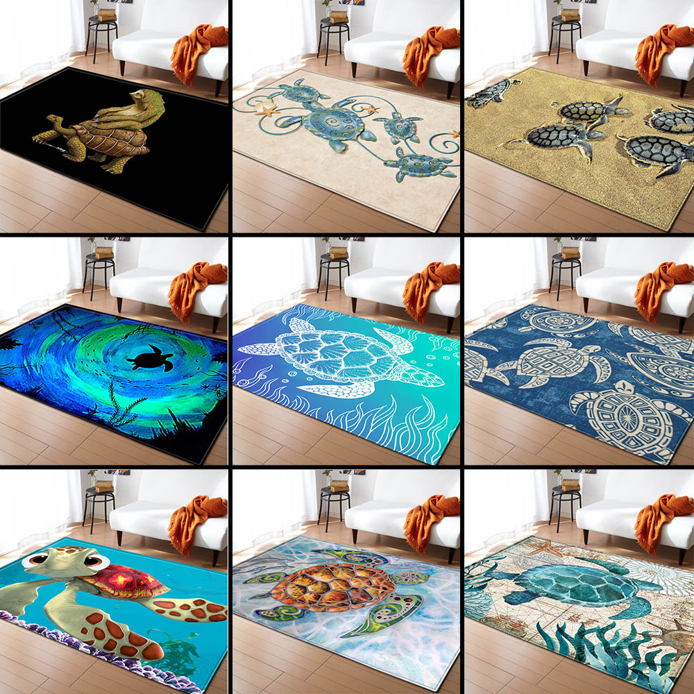 Nordic Carpets Soft Flannel 3D Turtle Printed Area Rugs Parlor Mat Rugs Anti-slip Large Rug Carpet For Living Room Decor