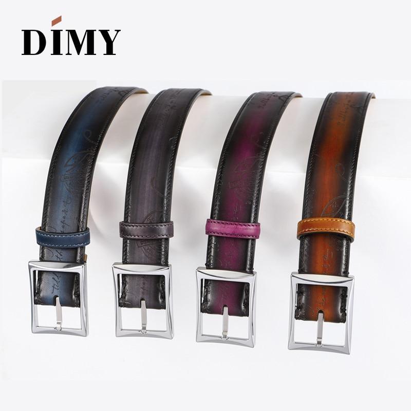 100% cuir de vachette véritable ceintures pour hommes Designer boucle ardillon affaires mode ceinture brossé à la main rétro lettre jeunesse ceintures sauvage - 5