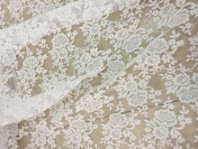 1 yard Quality off white bridal gown French alencon lace fabric by , floral embroidery with scalloped borders