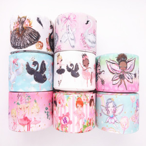 "5 yards 1"" 25MM /1.5"" 38MM Swan/Ballerina Girl/Fairy Printed Grosgrain Ribbon For Crafts DIY Hair Bows Decoration MD19031102(China)"