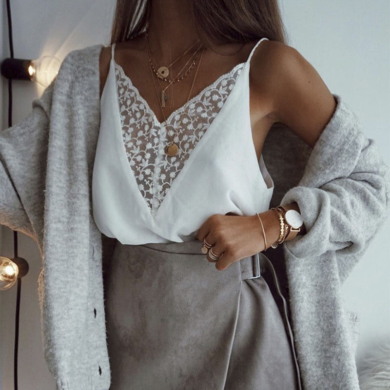 Women Ladies Boho Beach Summer Top Holiday Loose Off shoulder Lace Vest Blouse Sleeveless Casual Femme Vest camisa feminina