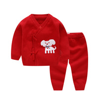 Baby Lovely Cartoon Print Clothing Set Infant Long Sleeve Belt Casual Tops+Pants Outfits Set Newborn Knitted Tracksuits AA52187
